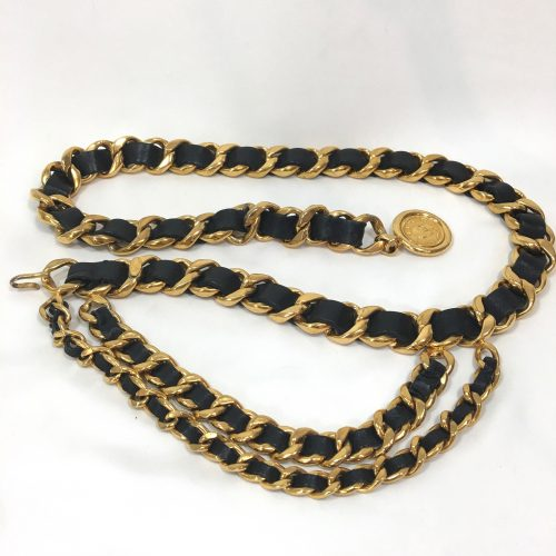 Chanel belt gold chain black leather