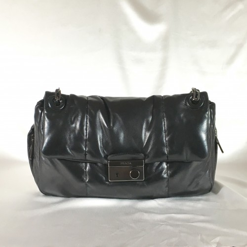 Prada black handbag steel chain front