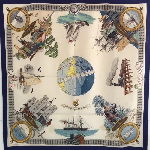 Hermès silk scarf La Tour du Monde 1960s