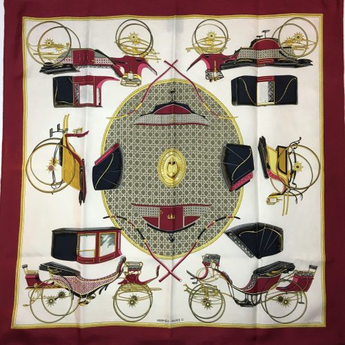 Hermes silk scarf Les voitures ... 1 red edge