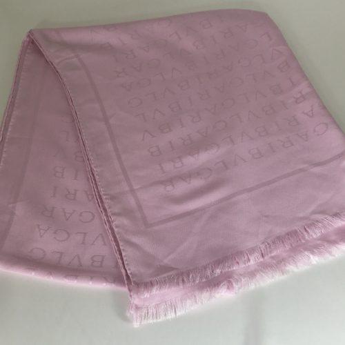 Bvulgary pink silk o wool scarf
