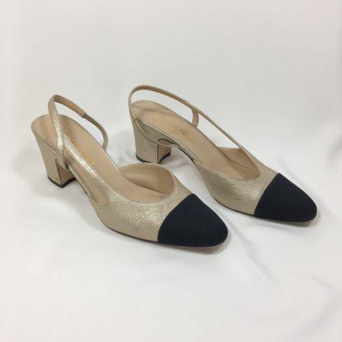 Chanbel Two-toned slingback cap toe1