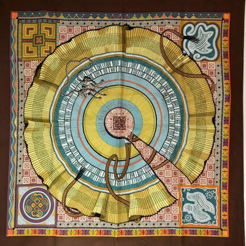 Hermes silk scarf carre Cien Plis de Miao