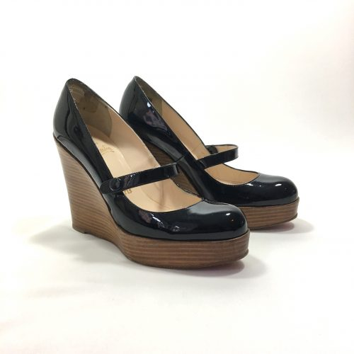 LOUBOUTIN WOOD WEDGES BLACK PATENT