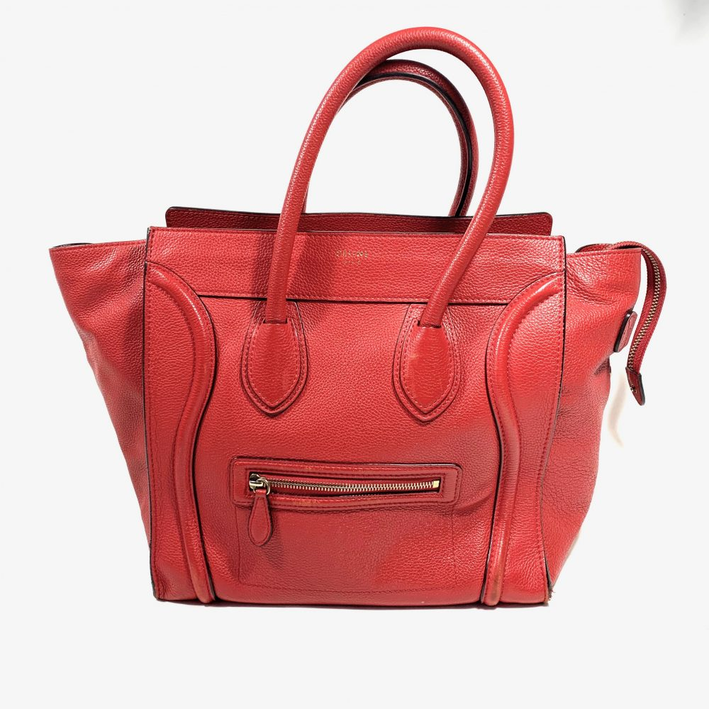 Céline red vintage designer bag Luggage tote
