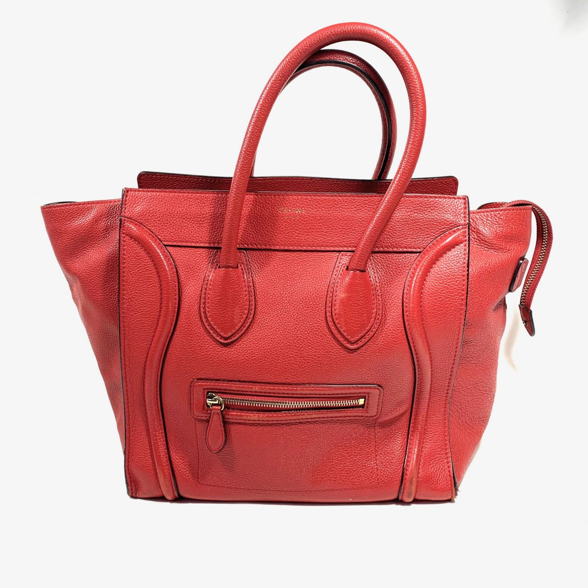 Céline red vintage designer bag Luggage tote