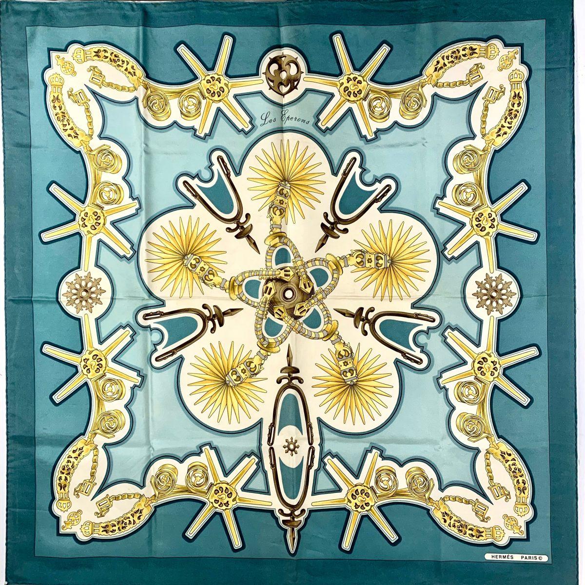 Hermès vintage designer scarf Les Eperons