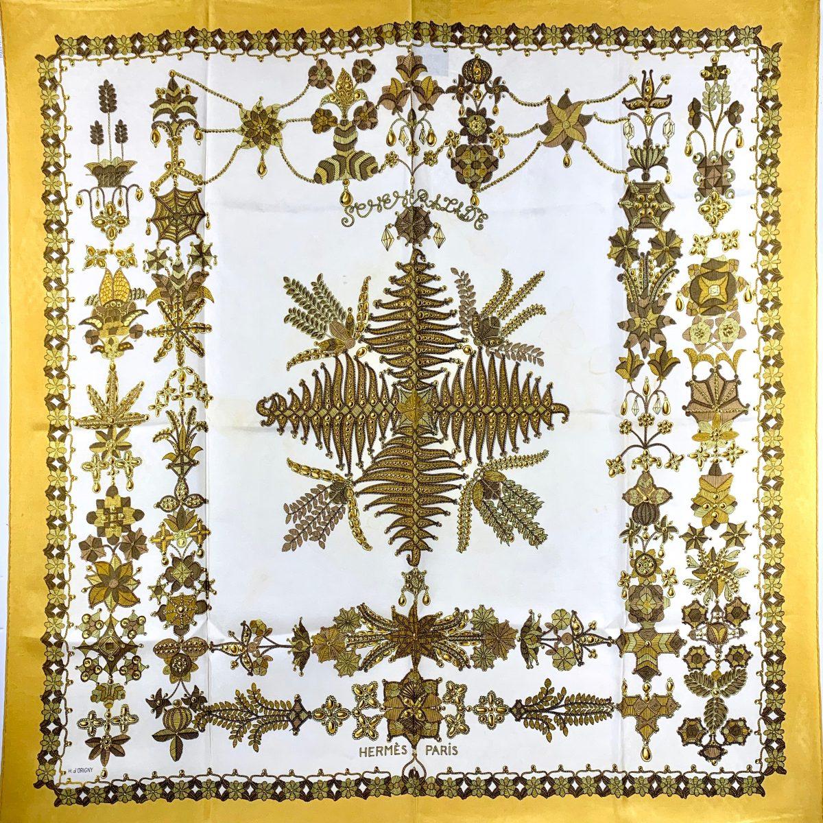 Hermès carré silk vintage mustard yellow