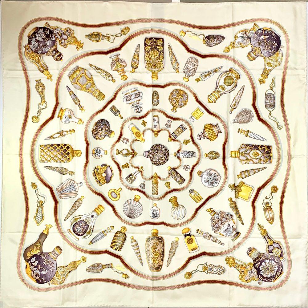 Hermès silk carré Perfume bottles