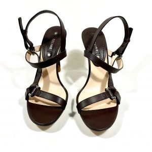 CÉLINE DARK BROWN LEATHER SANDALS, SIZE 38,5