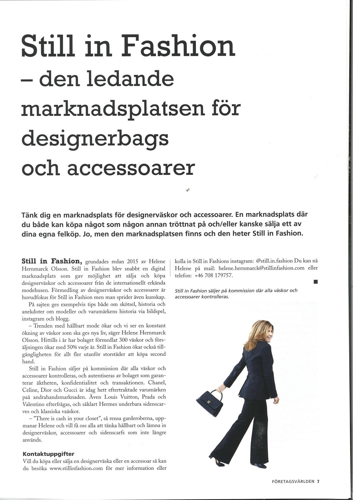 Företagsvärlden names Still in Fashion Leading Market Place for Designer Bags
