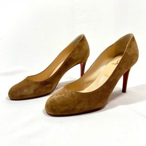 LOUBOUTIN SIMPLE PUMP IN TAN SUEDE, SIZE 37.