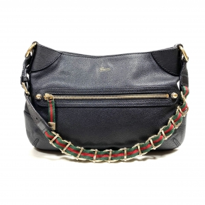 GUCCI HOBO BAG WITH SIGNATURE RED/GREEN SHOULDER CHAIN