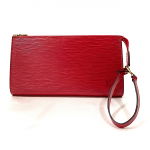 LOUIS VUITTON POCHETTE IN RED EPI LEATHER WITH WRISTBAND