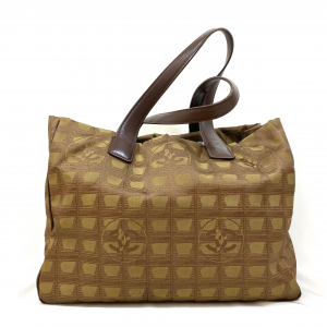 CHANEL NEW TRAVEL LINE BROWN CANVAS TOTE BAG