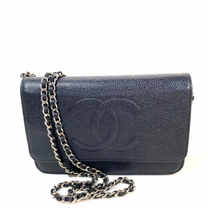 CHANEL WALLET ON CHAIN (WOC), BLACK CAVIAR LEATHER